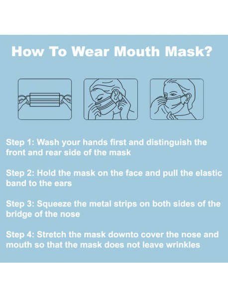 Disposable 3 Layers Soft Breathable Mouth Mask ( 5 pcs )