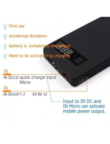 5 x 18650 QC3.0 Power Bank DIY Components--Black (1×Shell)