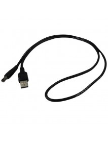 USB to DC 5.5mm x 2.5mm 22AWG Power Cable - Black ( 100cm Length )
