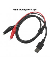 USB to Alligator Clips Test Leads 35mm Power Cable ( 100cm Length )