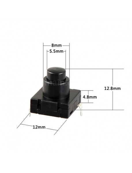 12mm(L) x 12mm(W) x 12.8mm(H) DIY LED Flashlight Forward Clicky Switch  for LED Flashlight (5 pcs)