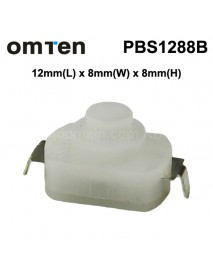 OmTen PBS1288B 12mm(L) 8mm(W) x 8mm(H) LED Flashlight Clicky Switch - White (5 pcs)
