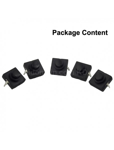 DIY LED Flashlight Clicky Switch 12mm x 12mm for LED Flashlight - Black button (5 pcs)
