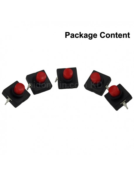 DIY LED Flashlight Clicky Switch 12mm x 12mm for LED Flashlight - Red button (5 pcs)