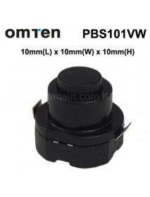 OmTen PBS101VW 10mm(L) x 10mm(W) x 10mm(H) LED Flashlight Clicky Switch - Black (5 pcs)