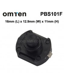 OmTen PBS101F 16mm(L) 12.9mm(W) x 11mm(H) LED Flashlight Clicky Switch - Black (5 pcs)