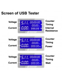 KW-1705A 4V - 30V USB Current and Voltage Meter with Timing Feature (1 pc)
