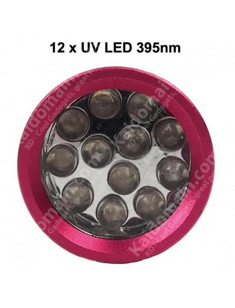 K-UV12 12 x UV LED 395nm 1-Mode Mini UV LED Flashlight  ( 3xAAA )